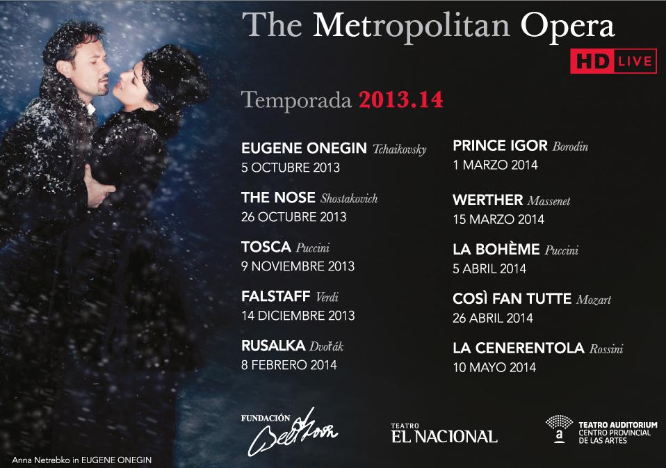 Temporada 2013 con transmision Online del Metropolitan Opera House
