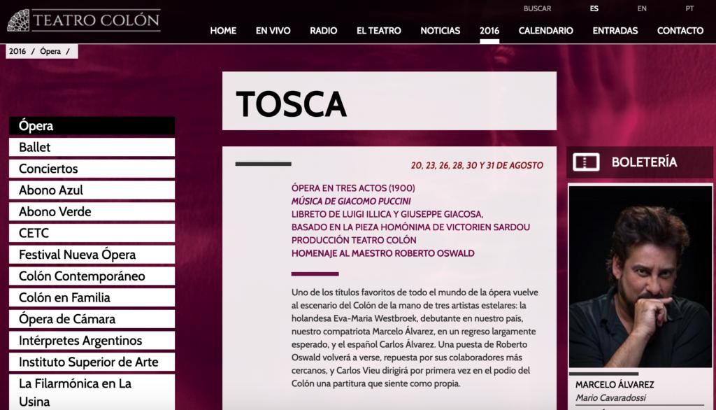 TOSCA by Giacomo Puccini en el Teatro Colon temporada 2016